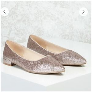 NWT Forever 21 Glitter Sparkly Rose Gold Flats 8